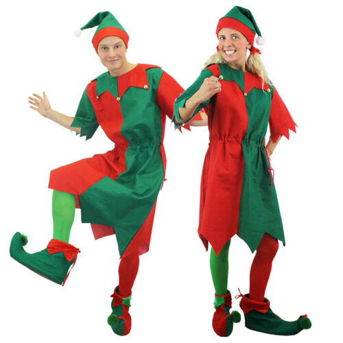 ADULTS ELF TUNIC COSTUME /& SANTA PICK ME UP FUNNY CHRISTMAS NOVELTY FANCY DRESS