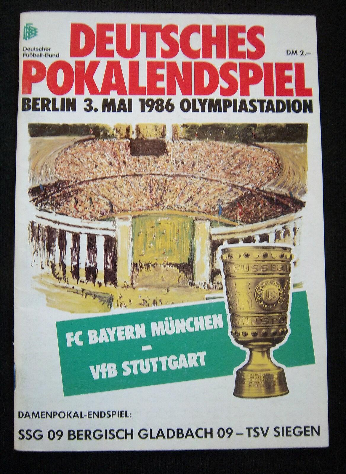 Orig.PRG   DFB Pokal   1985 86   FINALE   BAYERN MÜNCHEN - VfB STUTTGART    TOP