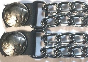 Multi Chain Link Extension Genuine Leather Biker Vest Extender Made In USA