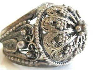 VINTAGE-ISRAEL-FILIGREE-CANNETILLE-DOME-TWISTED-WIRE-STERLING-SILVER-CUFF-RING
