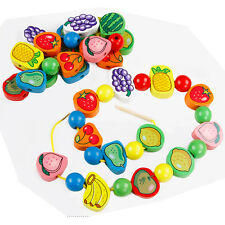Wooden toy baby birthday gift colorful fruit puts on the rope game beads 1set