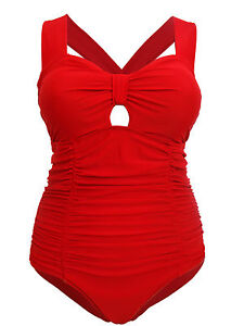 36c6a49bb 1950s Style Retro Sexy Red Tummy Control Swimsuit Costume 14-26 ...
