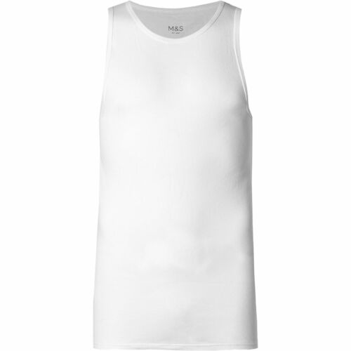 New M/&S 3 Pack 100/% Cotton Sleeveless Vests Tank Marks /& Spencer Top Gym S-4XL