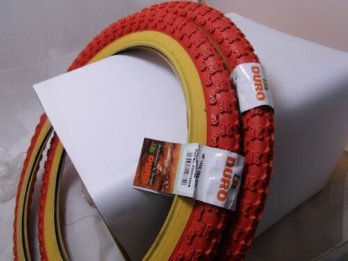 Comp 3 Tread Pair of Red 20 x 2.125 Raleigh Burner Old School BMX Tyres