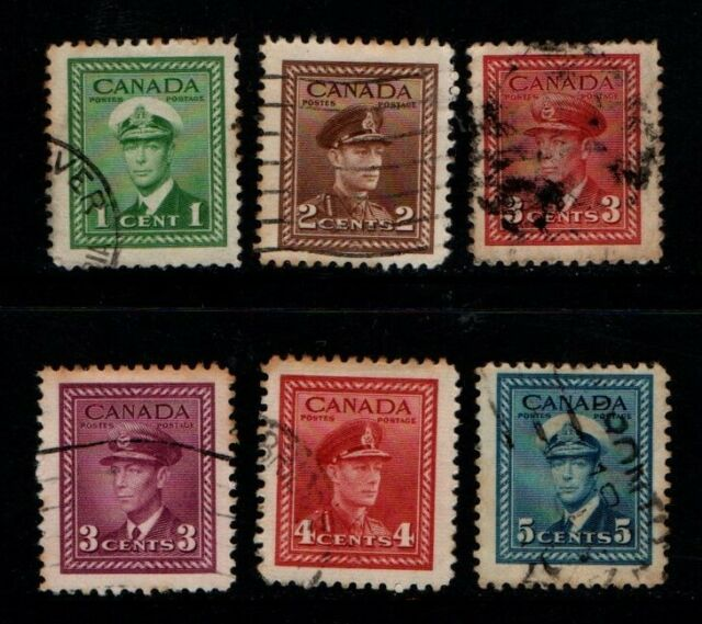 Canada 1942 King George VI selection SG375-77, 380-81 Sc 249-52, 254-55 Used