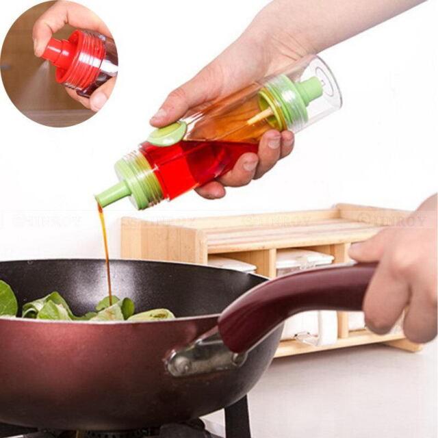2 In 1 Oil Soy Sauce Vinegar Condiment Bottle Spray Dispenser Kitchen BBQ Cruet