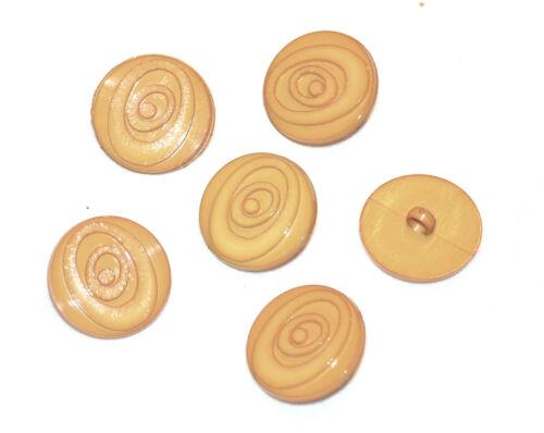 """marron /"""" Safran /"""" 14mm button Lot de 6 BOUTONS vintages ronds plastique orange"""