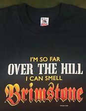 """True Vintage 90s Funny """"Over The Hill"""" Old Birthday Brimstone Black T-Shirt L"""