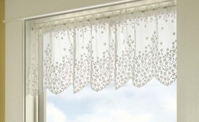 """Heritage Lace White BLOSSOM Window Valance 42""""Wx15""""L"""