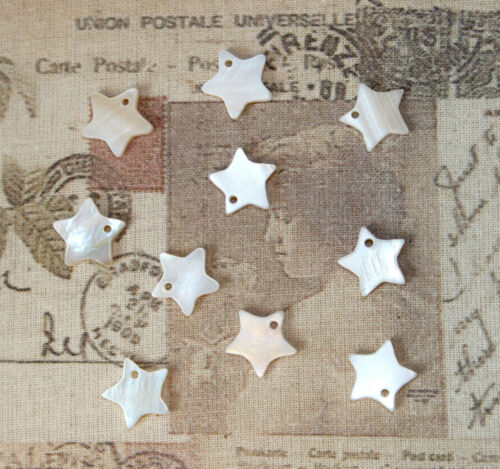 10x cute mini star shaped natural shell charms for DIY Jewellery Christmas