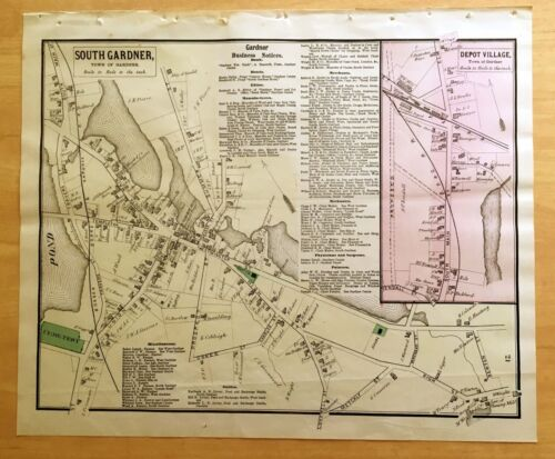 Original Antique 1870 Map SOUTH GARDNER Depot Village MA Massachusetts BEERS