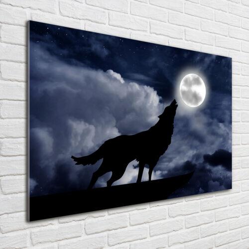 Acrylglas-Bild Wandbilder Druck 100x70 Deko Tiere Wolf Vollmond
