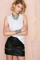 Nasty Gal Glamorous Skin Of Your Teeth Faux Leather Skirt Black Size L