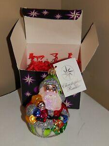 Christopher Radko Ornament Jolly Roller Santa +Original Box+Tag PRISTINE Shape