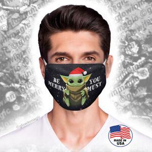 Baby-Yoda-Christmas-face-mask-Be-merry-Santa-red-hat-Mandalorian-Reusable