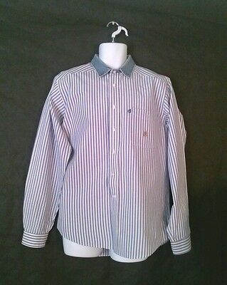 Rough Stock Blue and White Panhandle Slim Striped Button-Down Med - Large Shirt