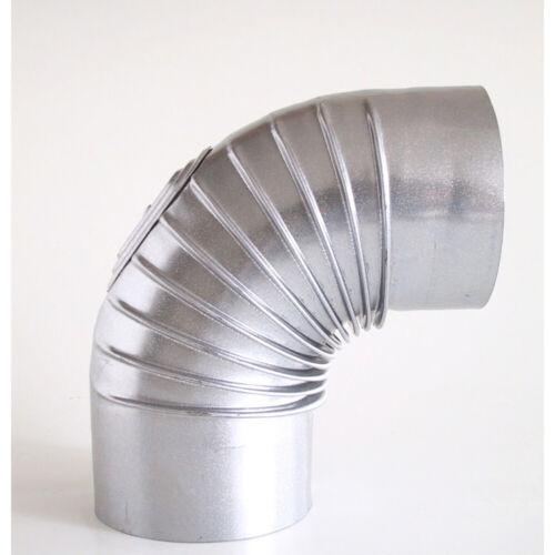 FAL Bogenknie Ø130 mm 90° mit Tür Rauchrohr Winkel Rohrbogen Ofenrohr gerippt