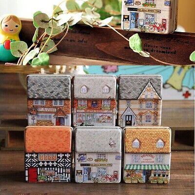 Full Painted Small House Tin Storage Case Iron Xmas Gift Box Boxes Jewelry Decor