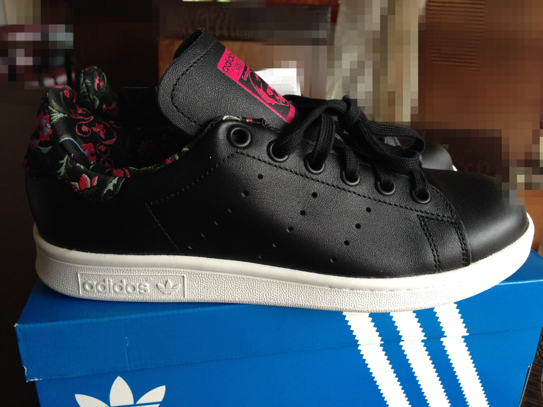 Auth NIB Adidas Originals Stan Smith Black Embroidered Sneaker Size us6 eu37.3