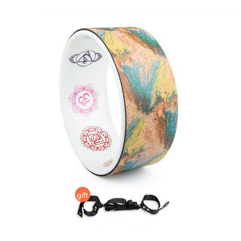 Unique Cork Painted Yoga Circle Painted Cork Natural elastic Round Exercise Wheel Training 2d7c9a