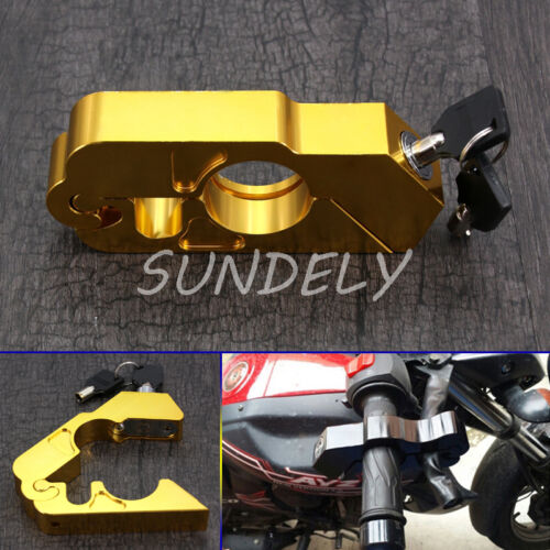 Custom Motorcycle Handlebar Grip Brake Lever Security Caps-Lock Anit Theft Gold