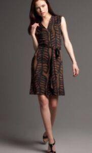 8991b04d703 Tory Burch Ivette Kongo Leaf Print Dress NEW Msrp $365 Black Brown ...