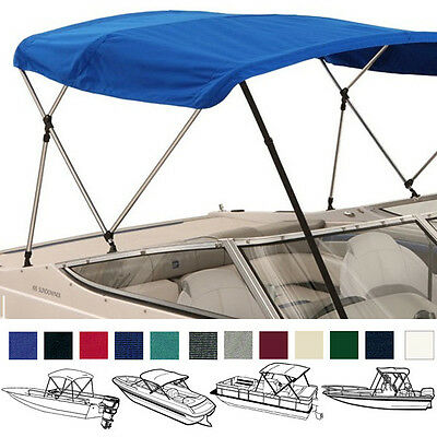 "BIMINI TOP BOAT COVER CANVAS FABRIC NAVY W//BOOT FITS 3 BOW 72/""L 36/""H 91/""-96/""W"
