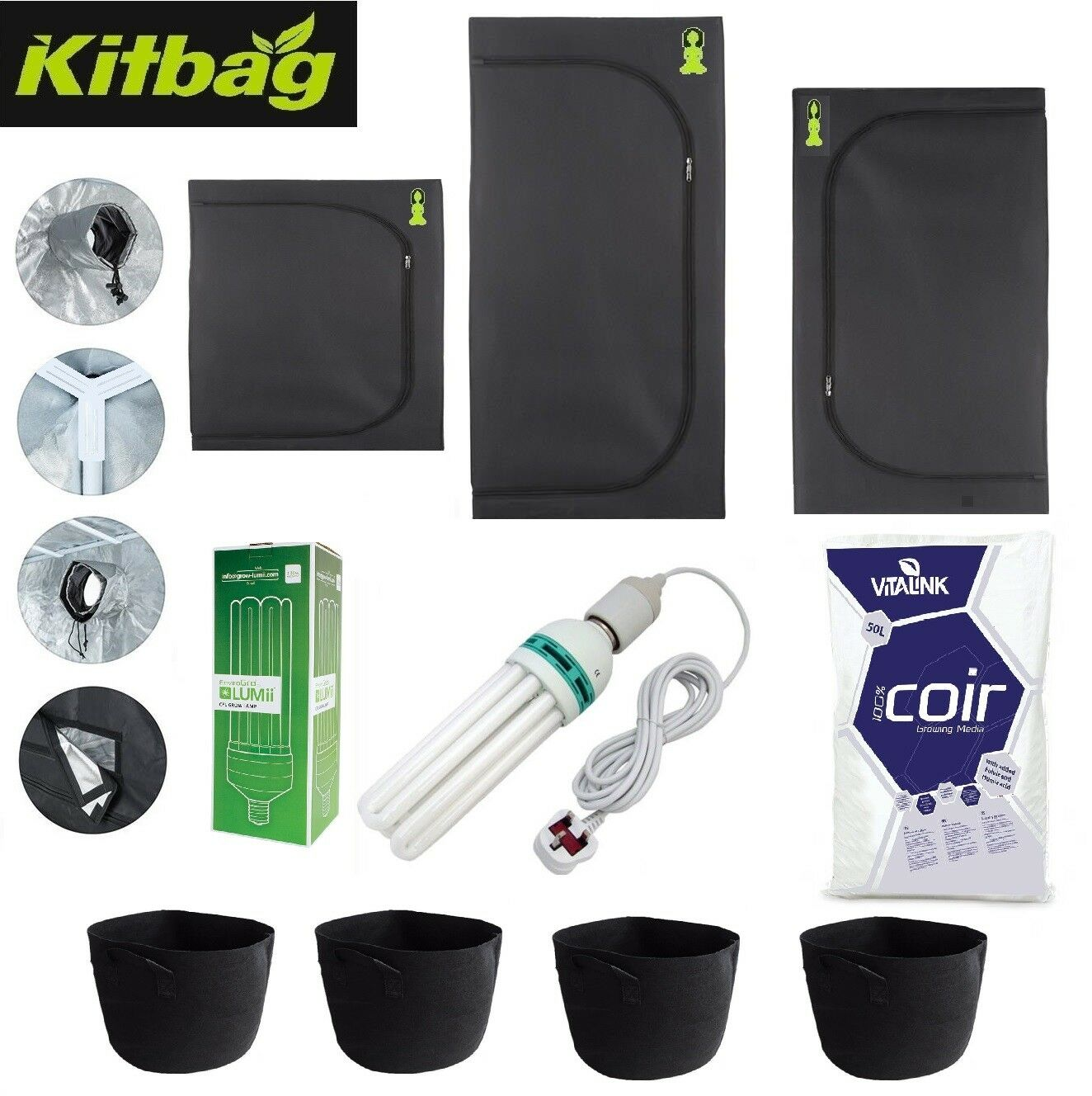 Budda Room Grow Tent KIT COMPLETO coltura idroponica small canna CFL Luce proagation