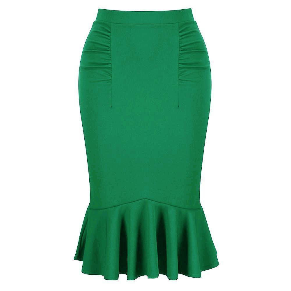 verde Smeraldo Peplo a Coda di Pesce Stretch Gonna Attillata Longuette