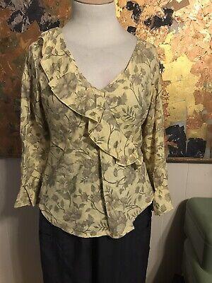 Misses Bryn Walker Chiara Linen Floral Print 3//4 Ruffle Sleeve Blouse Ostrea