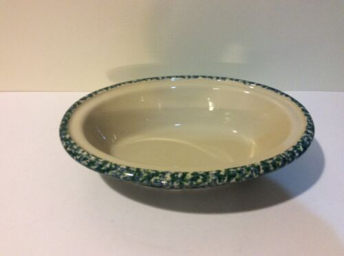 Henn Workshops Green Blue Spongeware Large Oval Casserole Dish Stoneware 12 x 9