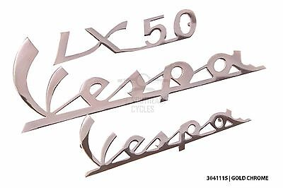 Gold chrome front legshied and rear cowl badges for vespa LX125 LX50