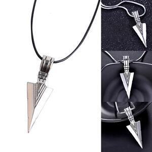 Edelstahl-Halskette-mit-Anhaenger-Pfeilspitze-Pfeil-Spitze-Kette-Biker-Silver