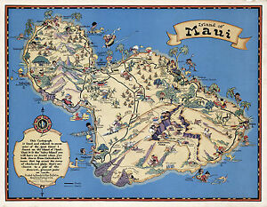 graphic relating to Printable Map of Maui named Data relating to Ancient Pictorial Map Hawaiian Island of Maui Typical Wall Artwork Poster Print