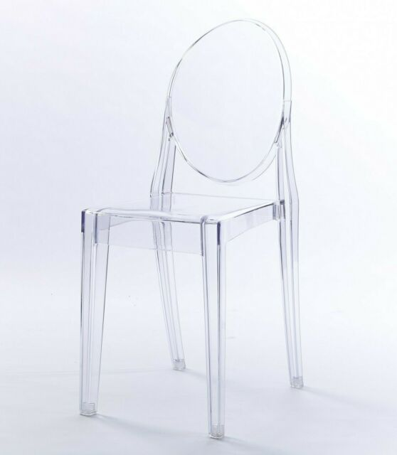 4 X Ghost Clear Grey Transparent Dressing Dining Chair Acrylic And Style Uk Mr For Sale Ebay