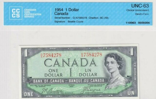 Bank of Canada 1954 $1 BC-29b Beattie-Coyne Devil's Face, S/N: OA7584278 UNC63
