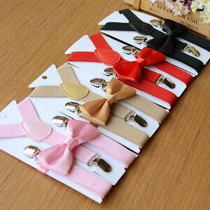 Lovely-Boys-Girls-Kids-Child-Children-4-Clips-Elastic-Suspenders-Bow-Tie