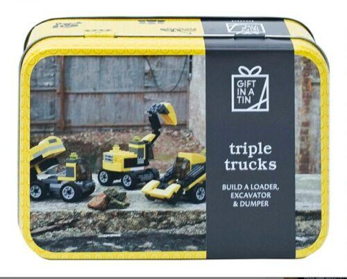 MELE a Pere regalo in una scatola di latta Triple Camion Costruzione Blocco bambini CONSEGNA GRATUITA