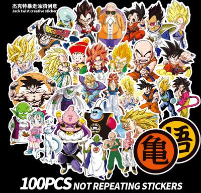 100 Pcs//Lot Anime Dragon Ball Stickers Super Saiyan Goku Decals For Car Laptop