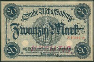 Aschaffenburg-20-Mark-ohne-Datum-Jahr-rote-5stellige-Kenn-Nr-10946-II-III