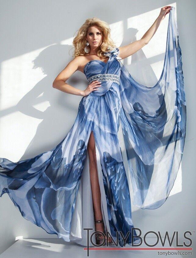 Tony Bowls Evenings Prom Dress TBE21129 blueee Multi Size 6 NWT