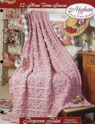 Popcorn Filet Afghan 12-Hour Time Savers TNS Crochet PATTERN//INSTRUCTIONS NEW