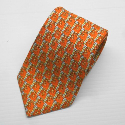 New with tags $95 Olimpo Tie Orange with Citadel Pattern 100/% Silk Made in Spain