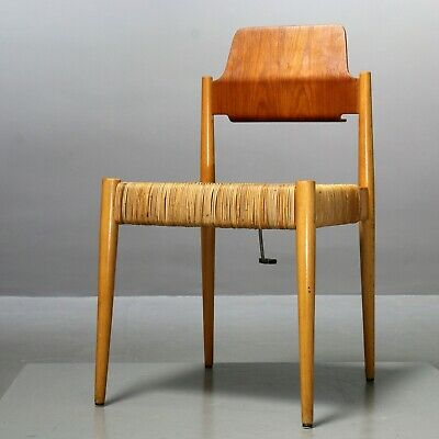 1 (von 2) Holz- Und Weidenstuhl Egon Eiermann Für Wilde+spieth Se119, 1958 Chair Dauerhaft Im Einsatz