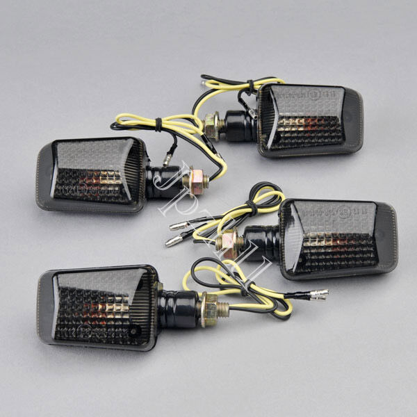 4pcs Motorcycle Bike Bulb Amber Turn Signal Indicator Light Smoke Lens Universal
