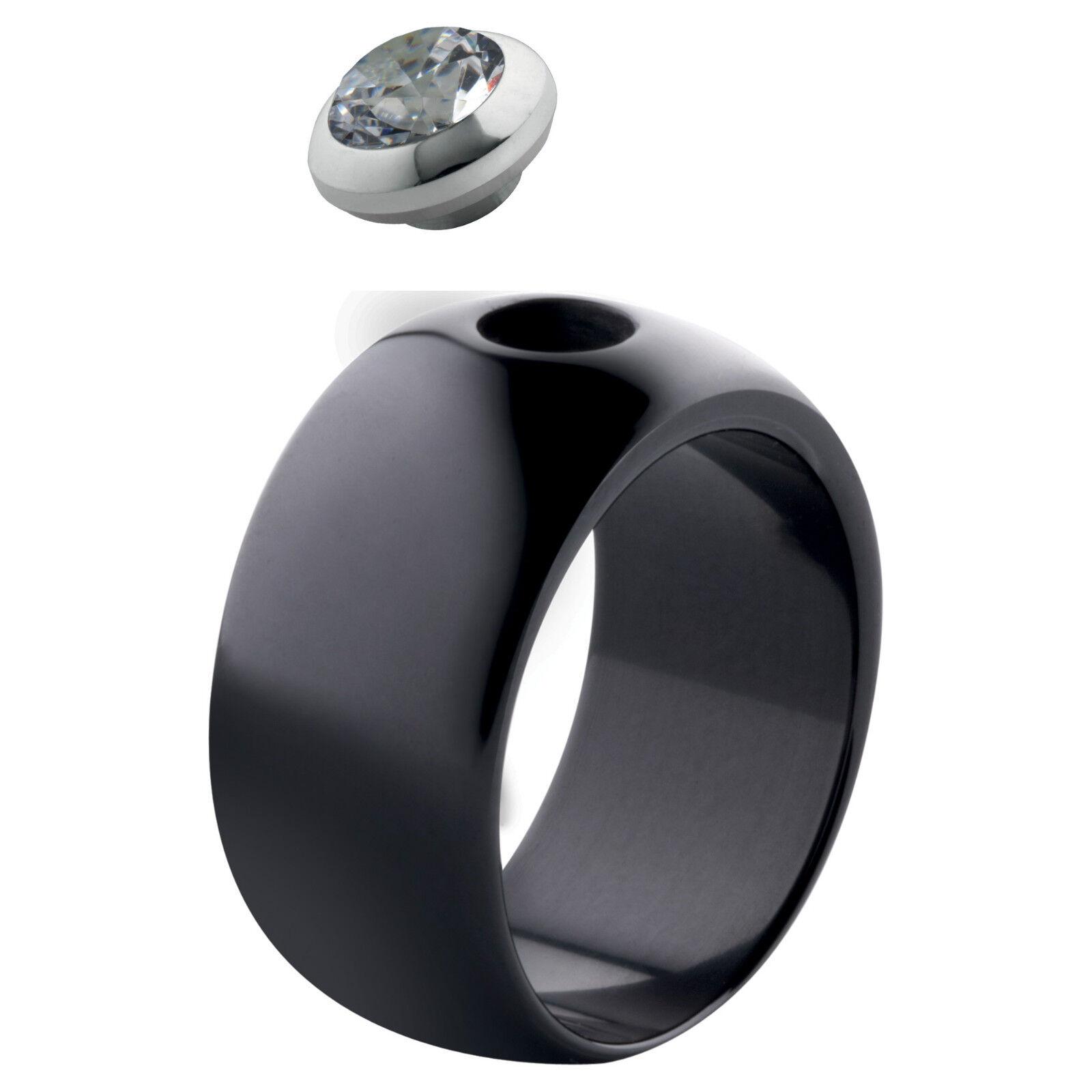 MelanO Magnetic Ring Keramik 10 mm breit Größe 50 black M 01R005 BL ohne Kopf