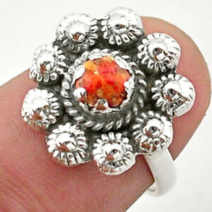 0.76cts Solitaire Red Copper Turquoise Round Silver Flower Ring Size 6 T40747