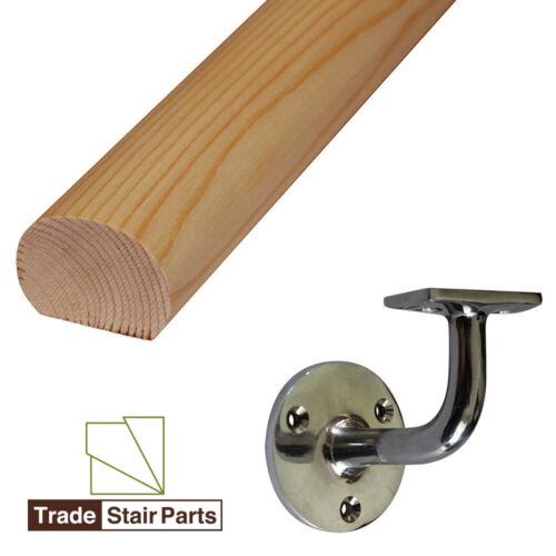 Solid Pine 4 Handrail Brackets Mopstick Oval Wall Mounted Handrail 3.6 metre