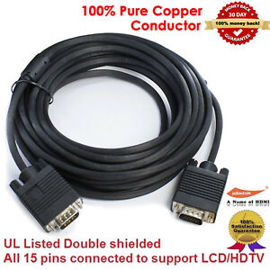 SVGA VGA Monitor Video Cable Cord HD 15 pin 6//10//15//25//30ft Male to Male M-M