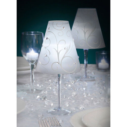 Glowing Wedding Table Decorations - Wine Glass Lampshade and LED tea-light